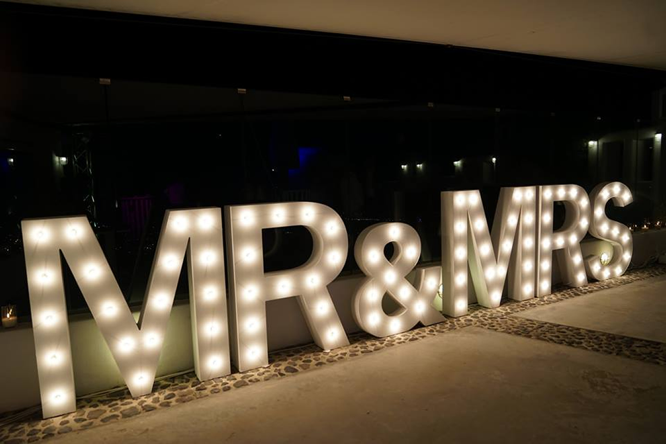Illuminate with large, light up letters Santorini Weddings