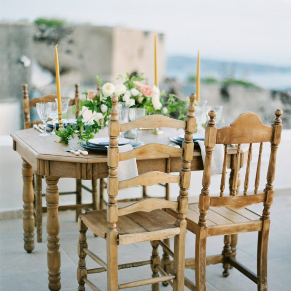 Table & chair rentals for Santorini destination events