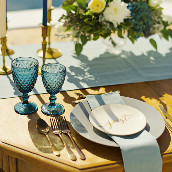 Silver blue decor details