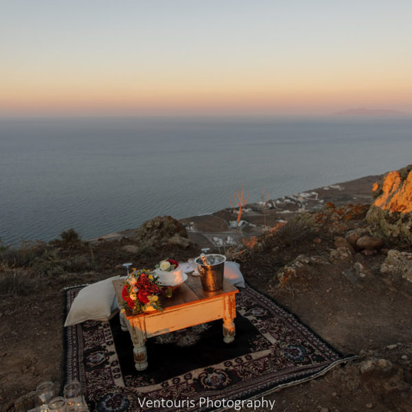 Romantic caldera sunset picnic