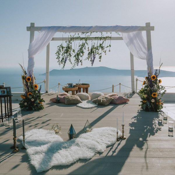 Romantic proposal for #traewaynes in Santorini