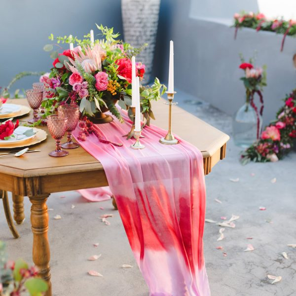 dip dye, hexagonal dining table, elopement styling