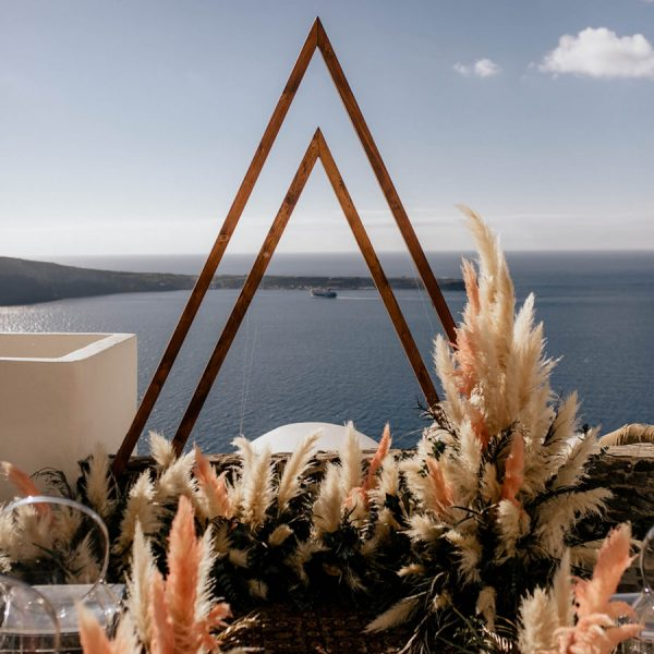 pampas wedding, geometric, triangle arch