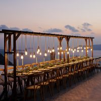 Specialist wooden structures for your Santorini wedding event