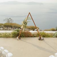 triangle, geometric, pampas, Santorini wedding