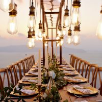 Vintage, elegant lighting adds a romantic element to your wedding