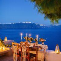 romantic elopement Santorini style