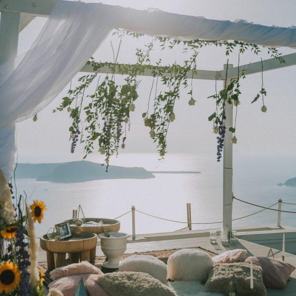 elopement styling, santorini proposal