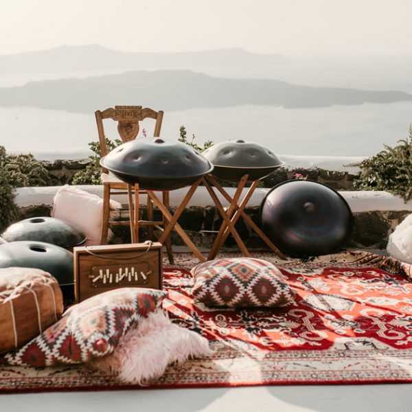 Cushions, poufs, textiles, perfect Santorini wedding accessories