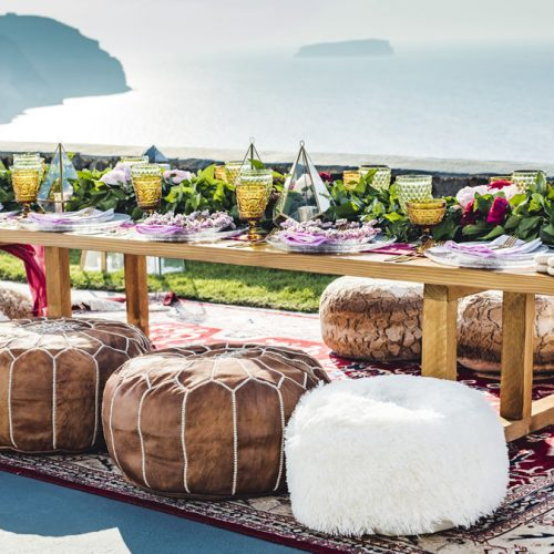 Cushions, poufs, textiles, perfect Santorini wedding accessories