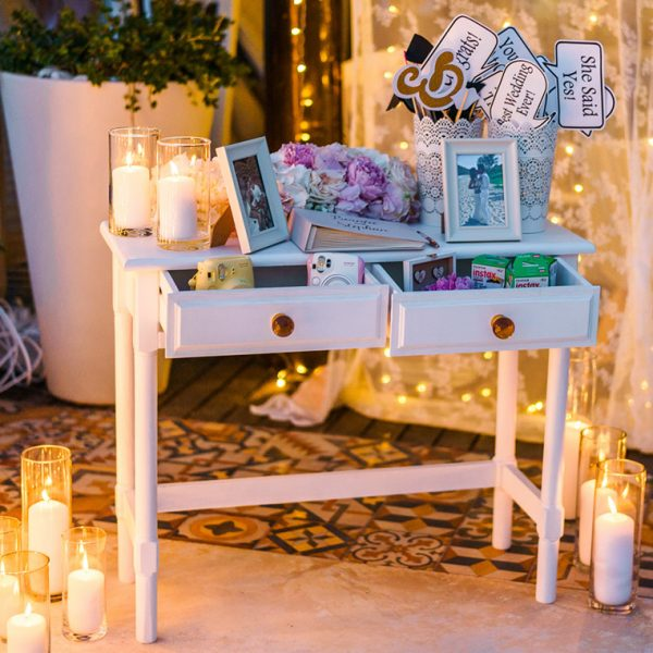 Eclectic range of display furniture for Santorini Greece weddings and events
