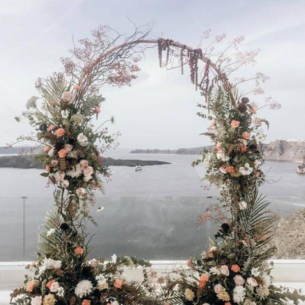 arches, pergolas, decor, accessories, props, rentals, Santorini destination event