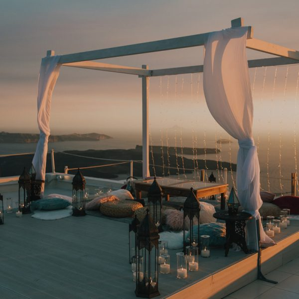 Santorini destination wedding planning, decor, decoration, wedding props, furniture, accessories and styling