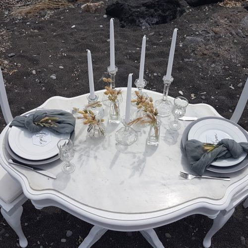 Micro wedding, elopement, peacock chair rental, Santorini event rental specialists