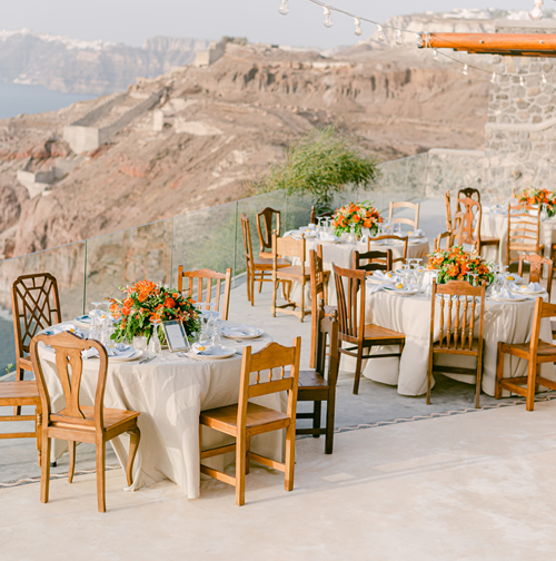 ceremony, reception, dining, chair rental, Santorini, microwedding, elopement, destination wedding