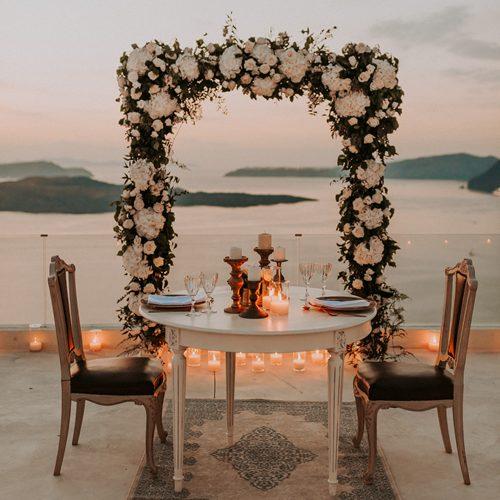 dining, elopement, styling, accessories, decoration, destination wedding, Santorini