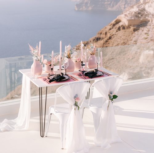 dining, elopement, styling, accessories, decoration, destination wedding, Santorini