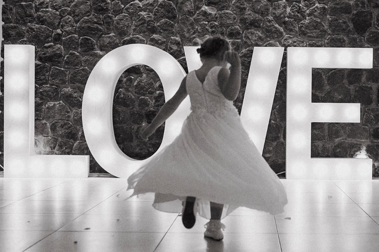 Illuminate with large, light up letters Santorini Weddings