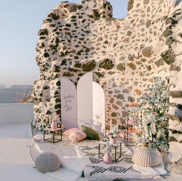 wedding, baptism, event cake and dessert display decoration, accessories and props in Santorini
