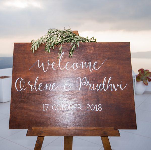 wedding signs, acrylic, accessories, wedding rentals, wedding decor and decoration, Santorini wedding, destination